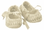 NEW Will'Beth Vintage Style Ivory Cotton Knit Mary Jane Booties with Woven Ribbon