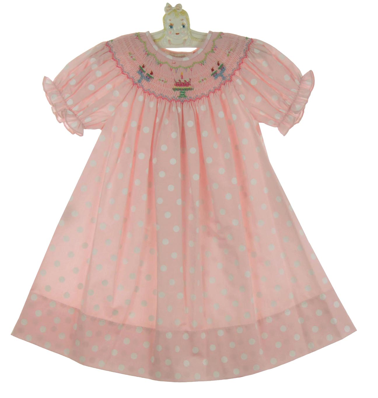 Rosalina Pink Polka Dot Birthday DressRosalina Bishop Smocked
