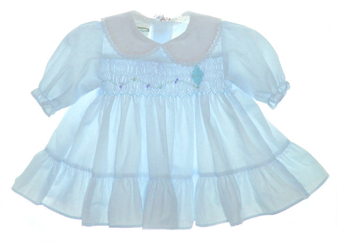 Polly Flinders Blue Smocked Baby Dress With Embroidered