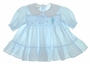"<img src=""https://p11.secure.hostingprod.com/@grammies-attic.com/ssl/images/blue-sold-1.gif""> Polly Flinders Blue Smocked Baby Dress with Embroidered Kite"