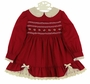 "<img src=""https://p11.secure.hostingprod.com/@grammies-attic.com/ssl/images/blue-sold-1.gif""> Polly Flinders Cranberry Smocked Dress with Ivory Lace Trim"