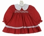 "<img src=""https://p11.secure.hostingprod.com/@grammies-attic.com/ssl/images/blue-sold-1.gif""> Polly Flinders Dark Red Print Cotton Smocked Dress with Embroidered White Collar"