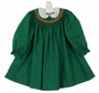 Polly Flinders Green Bishop Smocked Dress with Embroidered Eyelet Collar
