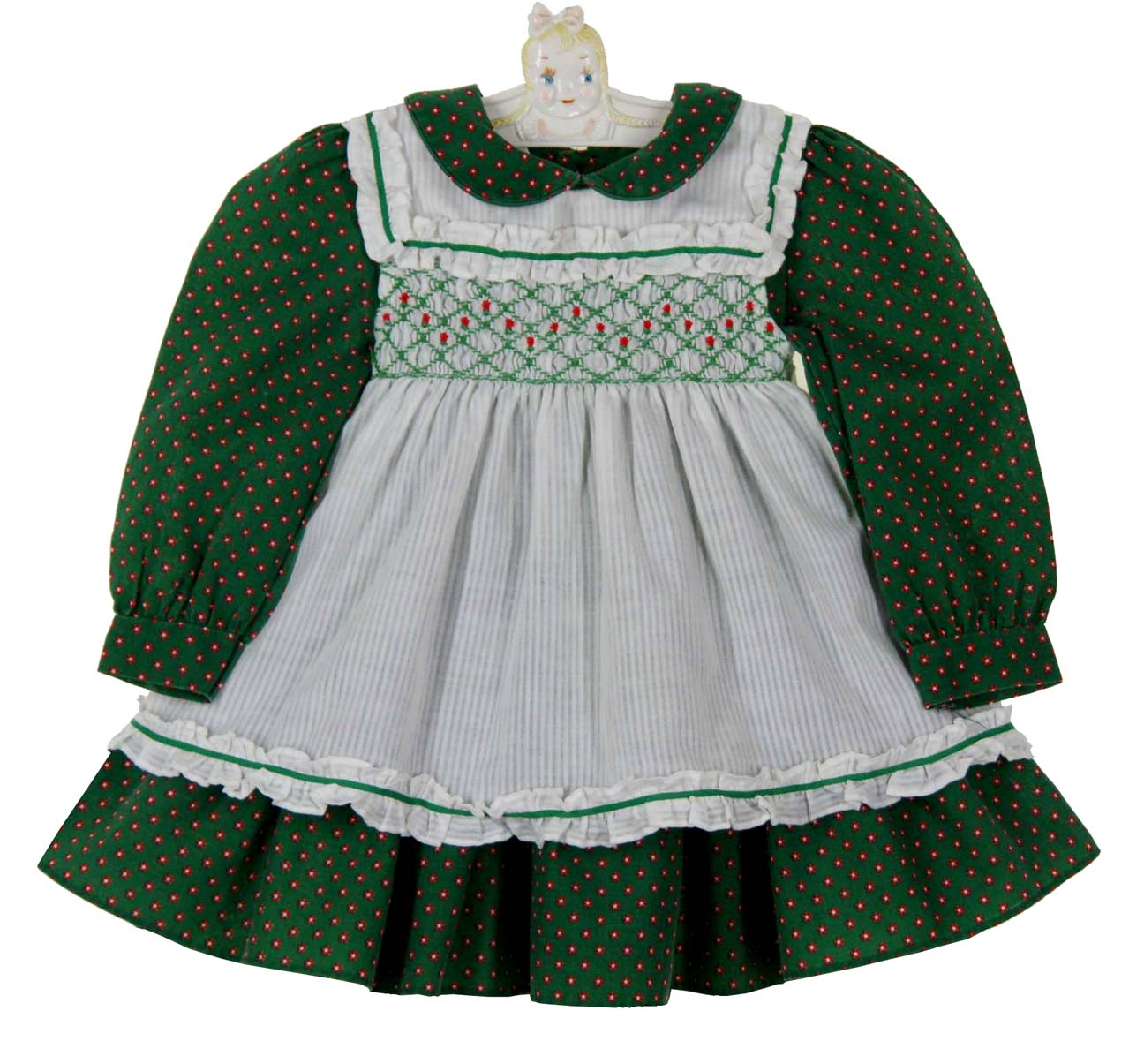 0d47a512c66d Polly Flinders green flowered smocked dress with white smocked ...