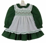 "<img src=""https://p11.secure.hostingprod.com/@grammies-attic.com/ssl/images/blue-sold-1.gif"">  Flinders Green Flower Print Dress with White Ruffled Smocked Pinafore"