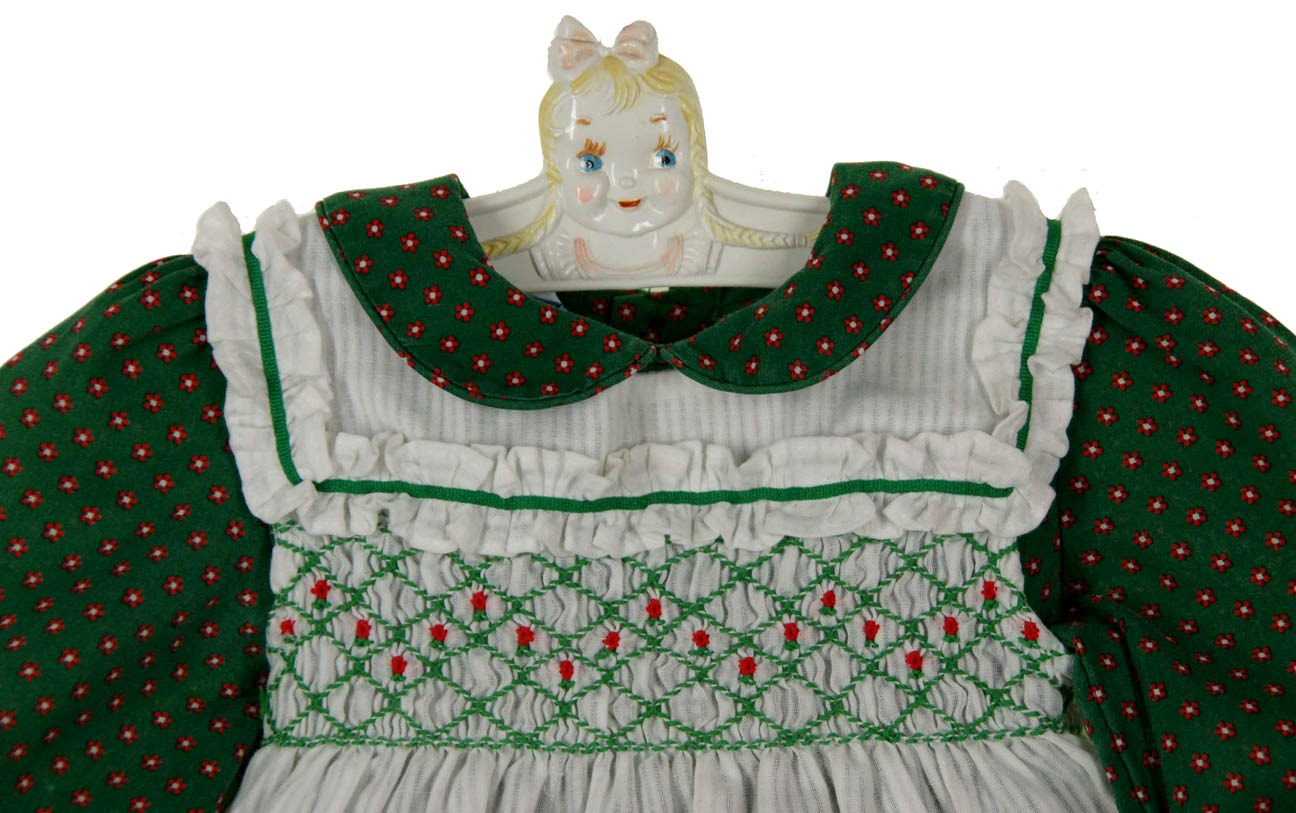 44116bb69d88 Polly Flinders green flowered smocked dress with white smocked pinafore,Polly  Flinders Christmas pinafore dress,Polly Flinders holiday dress,Polly  Flinders ...