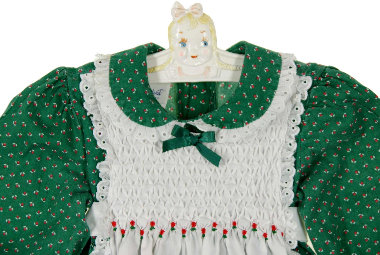 6d995f86bd60 Polly Flinders green flowered smocked pinafore style dress with ...