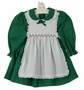 "<img src=""https://p11.secure.hostingprod.com/@grammies-attic.com/ssl/images/blue-sold-1.gif""> Polly Flinders Green Flower Print Pinafore Style Dress with White Smocking"