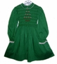 Polly Flinders Green Smocked Little Girls Dress with Christmas Tree Embroidery