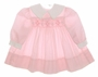 "<img src=""https://p11.secure.hostingprod.com/@grammies-attic.com/ssl/images/blue-sold-1.gif""> Polly Flinders Pink Smocked Baby Dress with White Collar and Cuffs"
