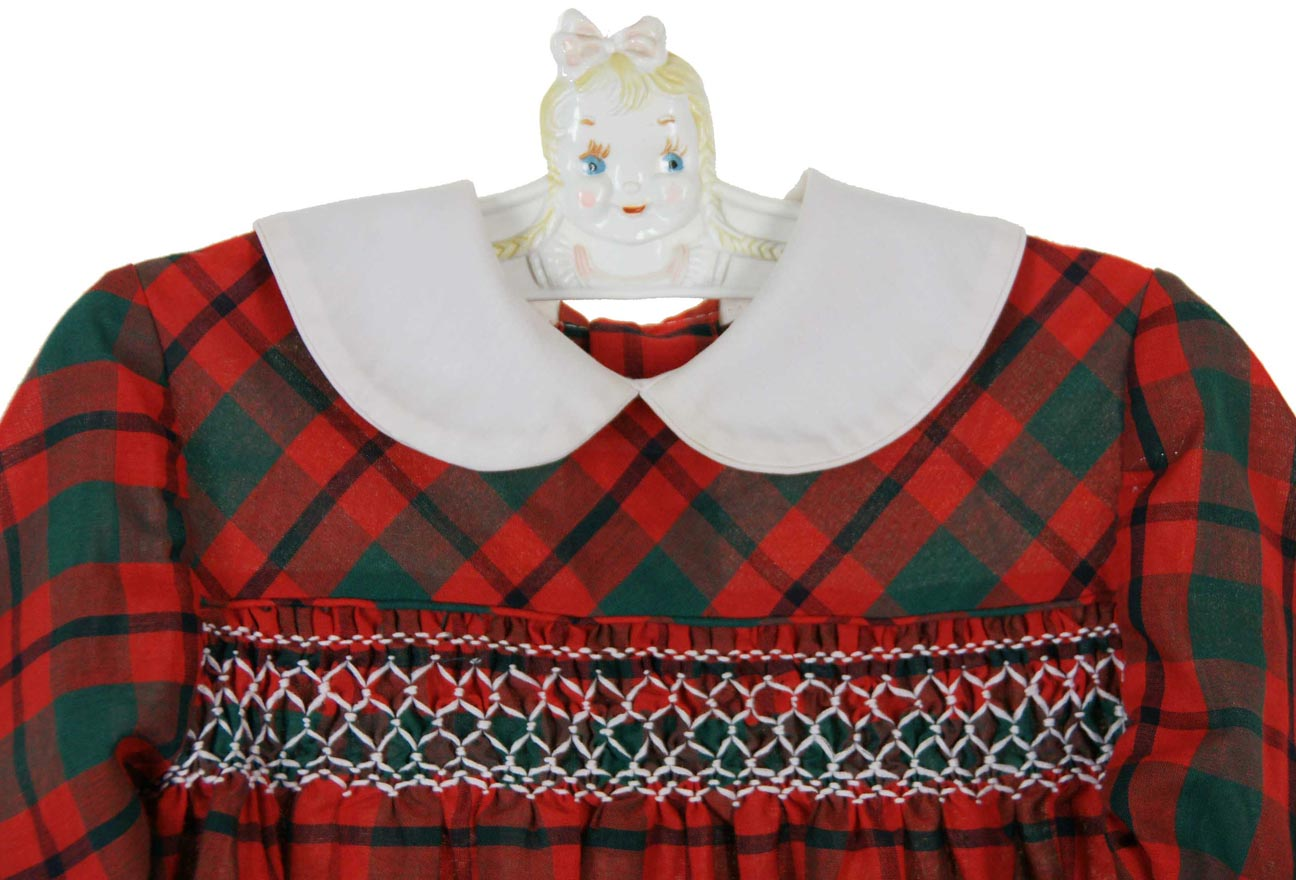 Polly flinders red and green plaid smocked dress with white collar