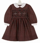 Polly Flinders Red and Green Plaid Smocked Dress with White Lace Trimmed Collar and Cuffs