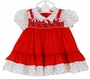 Polly Flinders Red and White Smocked Pinafore Style Dress