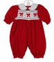 "<img src=""https://p11.secure.hostingprod.com/@grammies-attic.com/ssl/images/blue-sold-1.gif"">  Polly Flinders Red Cotton Velvet Smocked Bubble with Embroidered Bows"