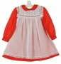 "<img src=""https://p11.secure.hostingprod.com/@grammies-attic.com/ssl/images/blue-sold-1.gif""> Polly Flinders Red Dotted Dress with White Lace Trimmed Pinafore"