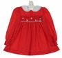 Polly Flinders Red Dotted Smocked Dress with Snowman Embroidery