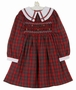"<img src=""https://p11.secure.hostingprod.com/@grammies-attic.com/ssl/images/blue-sold-1.gif""> Polly Flinders Red Plaid Smocked Dress with Plaid Trimmed White Collar"