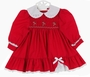 "<img src=""https://p11.secure.hostingprod.com/@grammies-attic.com/ssl/images/blue-sold-1.gif""> Polly Flinders Red Smocked Dress with Eyelet Trim and Candy Cane Embroidery"