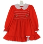 Polly Flinders Red Smocked Dress with Green and White Embroidered Flowers