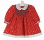 Polly Flinders Red Snowman Print Cotton Smocked Dress with Embroidered White Collar