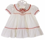 NEW Polly Flinders White Smocked Dress with Red Poinsetta Embroidery