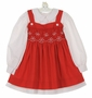 "<img src=""https://p11.secure.hostingprod.com/@grammies-attic.com/ssl/images/blue-sold-1.gif""> Polly Flinders White Dotted Dress with Red Smocked Pinafore"