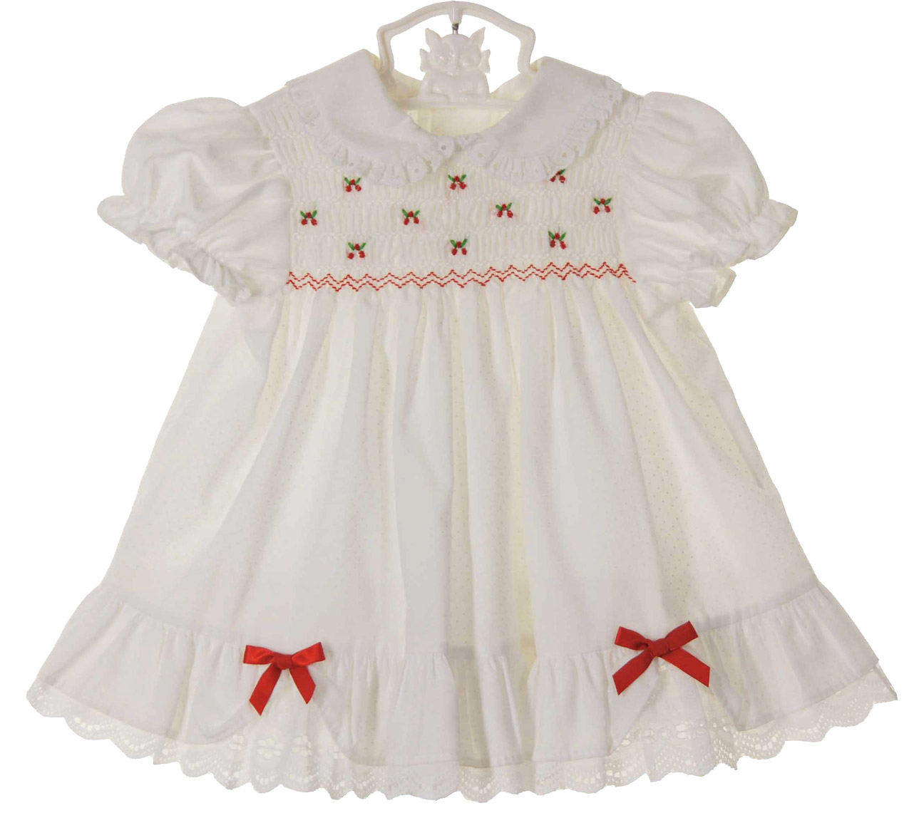 Polly Flinders White Dotted Smocked Dress With Embroidered Red