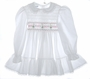 "<img src=""https://p11.secure.hostingprod.com/@grammies-attic.com/ssl/images/blue-sold-1.gif""> Polly Flinders White Dotted Smocked Toddler Dress with Embroidered Candles"