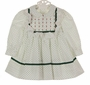 Polly Flinders White Dress with Green Dots, White Eyelet Ruffles, and Green Ribbon Trim