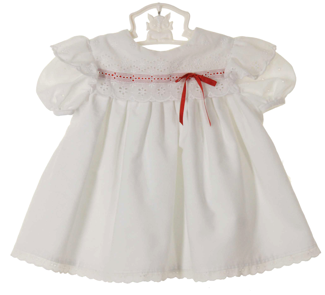 Polly Flinders white eyelet trimmed dress with red ribbon