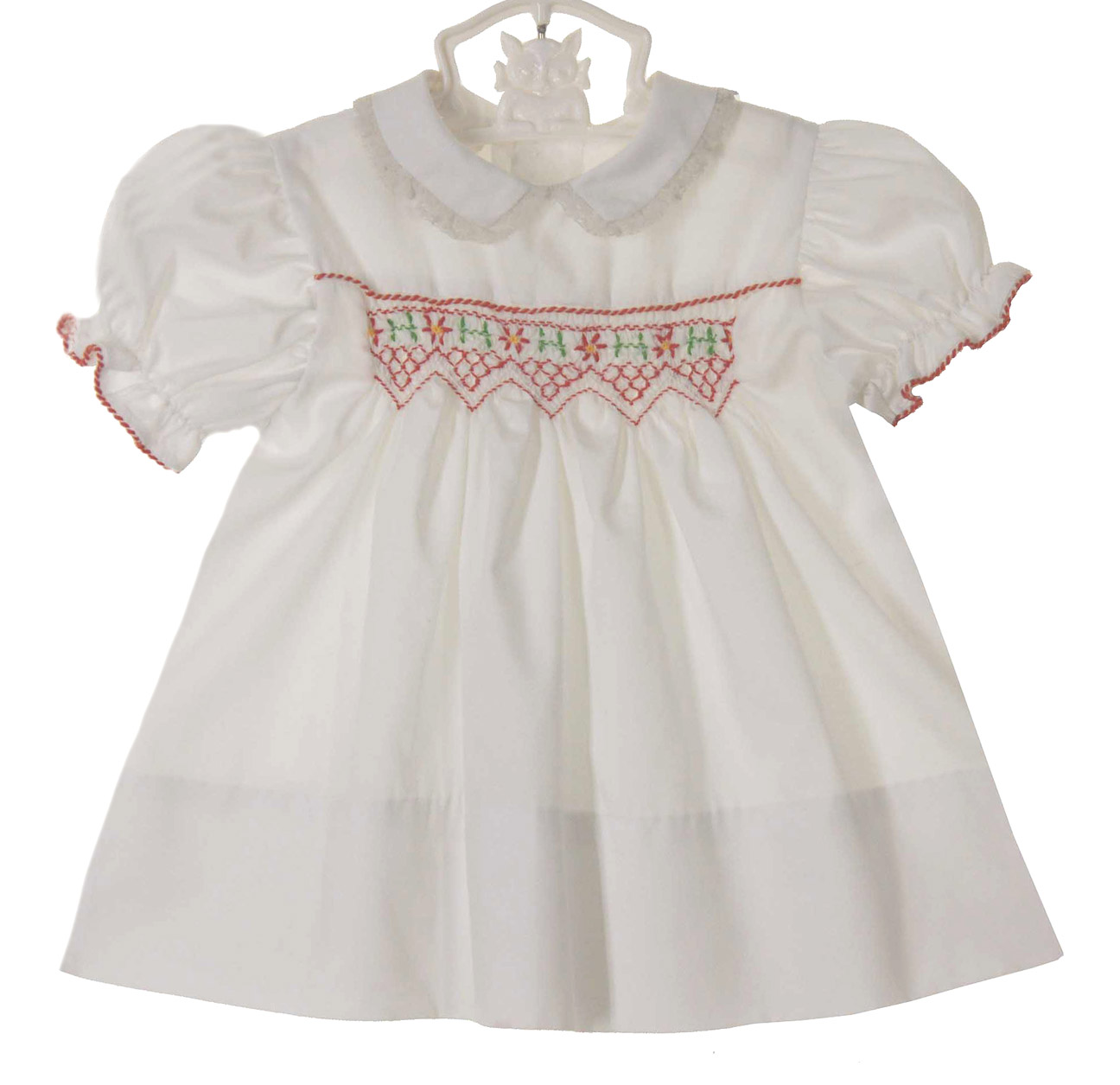 Polly Flinders white smocked baby dress with red embroidered flowers ...