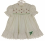 "<img src=""https://p11.secure.hostingprod.com/@grammies-attic.com/ssl/images/blue-sold-1.gif""> Polly Flinders White Smocked Dress with Green Dots and Tiny Red Flowers"