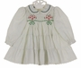 "<img src=""https://p11.secure.hostingprod.com/@grammies-attic.com/ssl/images/blue-sold-1.gif""> Polly Flinders White Smocked Dress with Green Dots, Tiers of Ruffles, and Red and Green Embroidery"
