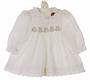 Polly Flinders White Smocked Dress with Red and Green Embroidery