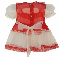 Retro 1950s Red And Antique White Organdy Dress Vintage