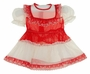 "<img src=""https://p11.secure.hostingprod.com/@grammies-attic.com/ssl/images/blue-sold-1.gif""> Retro 1950s Red and Antique White Organdy Dress with Scalloped Embroidered Trim"