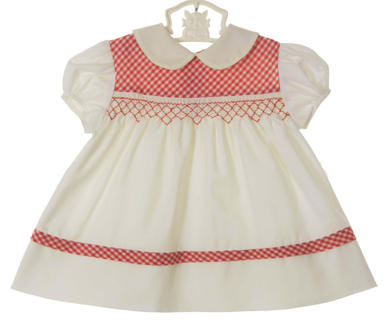 Vintage 1960s Polly Flinders Red And Off White Baby Dress