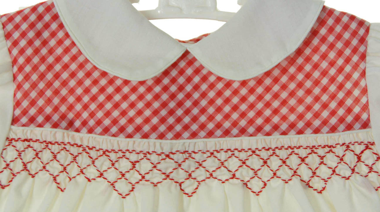 Vintage 1960s Polly Flinders Off White Smocked Dress With