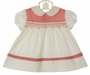 Vintage 1960s Polly Flinders Off-White Smocked Dress with Red Checked Trim