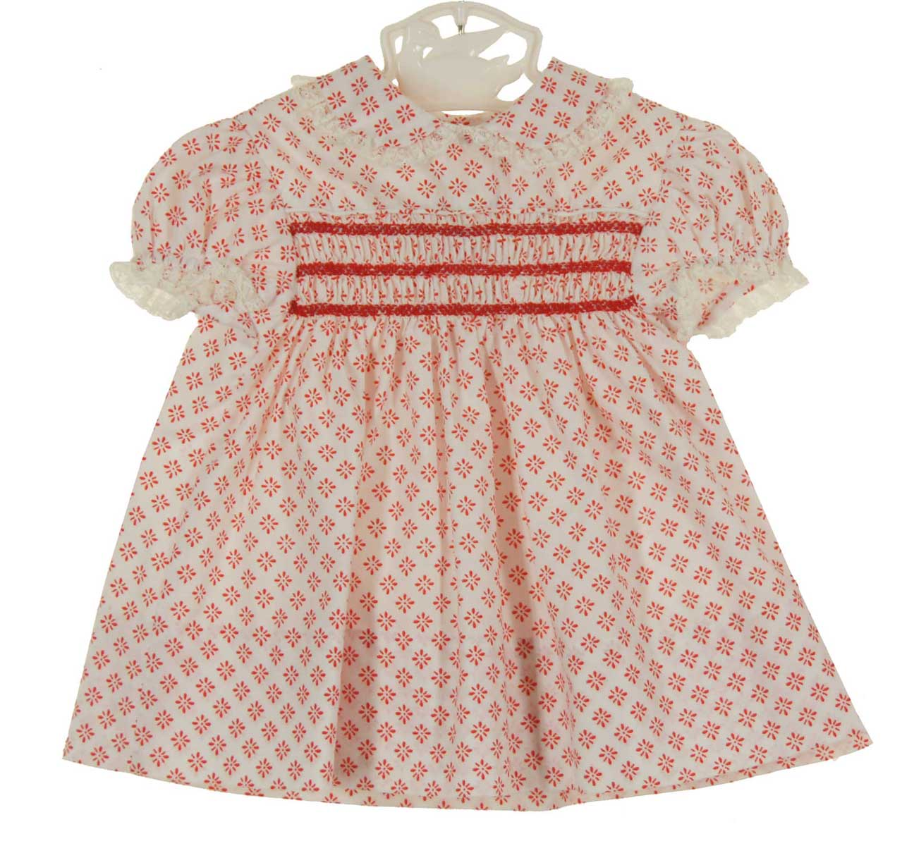 75bae3cdd3db vintage 1960s Polly Flinders red and white print smocked baby dress ...
