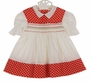 Vintage 1960s Polly Flinders White Smocked Dress with Red Polka Dots