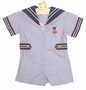 Vintage Blue Pinstriped Sailor Shortall with Zip Up Front