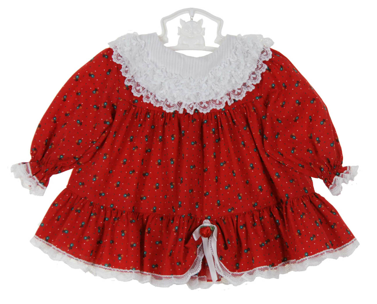 Bryan Red Dress With White Ruffled Pinafore Baby Girls