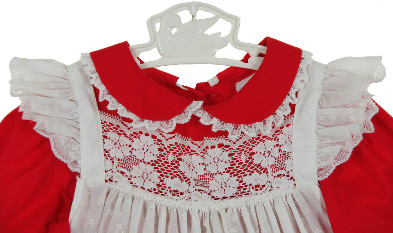 vintage bryan red dress with white lace trimmed pinaforevintage red dress with pinaforelittle girls pinafore dresschristmas pinafore dressvalentines day