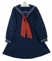 Vintage Navy Blue Sailor Dress with White Trim and Red Tie