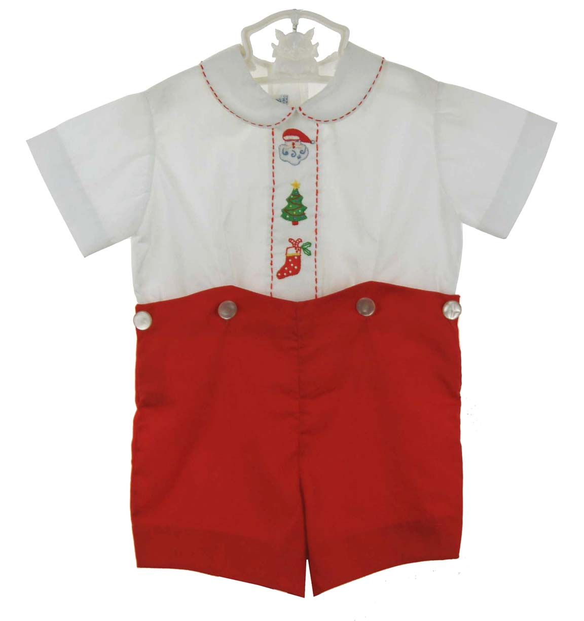 Imperial Red And White Embroidered Shorts Set Vintage