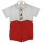 "<img src=""http://site.grammies-attic.com/images/blue-sold-1.gif""> Vintage Unworn Madeira Red and White Button on Shorts Set with Holiday Embroidery"