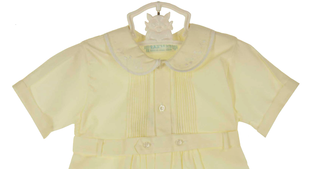 heirloom unworn Feltman Brothers yellow pintucked romper