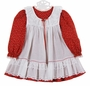 """<img src=""""https://p11.secure.hostingprod.com/@grammies-attic.com/ssl/images/blue-sold-1.gif""""> Vintage Unworn Bryan Red Flowered Dress with White Lace Trimmed Pinafore"""