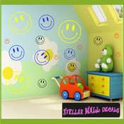 16 Happy Face Vinyl Wall Decal Stickers Kit SWD